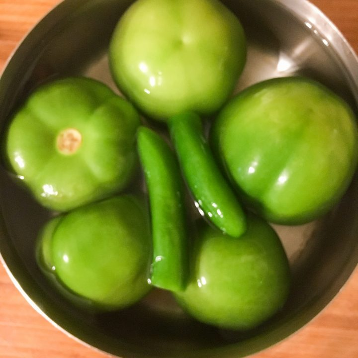 Tomatillos and Serranos for Tomatillo Salsa